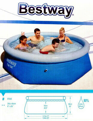 Bestway Inflatable Family 8 Foot Fast Set Pool (244cm * 66cm) #57265 + PE Cover