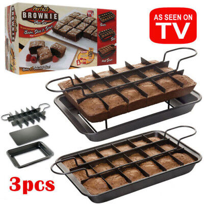 Brownie Pan Set Metallic Specialty Slice Solutions with divider Removable Bottom
