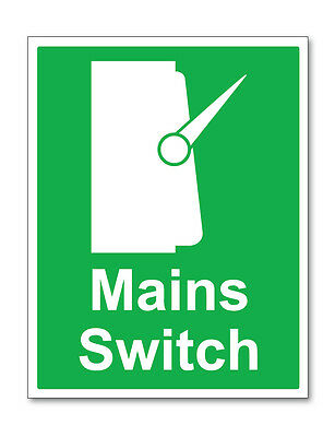 2 x MAINS SWITCH GREEN WARNING SELF ADHESIVE STICKERS SAFETY SIGNS BUSINESS
