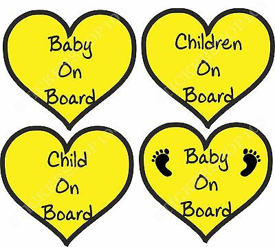 Baby On Board Child Children Footprint Hearts Safety Sticker Car Vehicle Signs