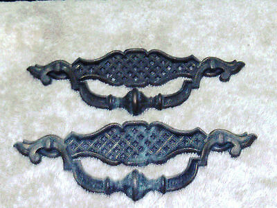 PAIR OF 2 VINTAGE BRASS DRAWER PULLS HANDLES BASKET WEAVE 7 1/2 inches