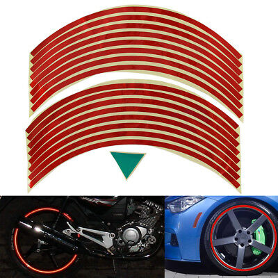 16pcs Motorbike Car Reflective Rim Tape Wheel Sticker Trim Motorcycle