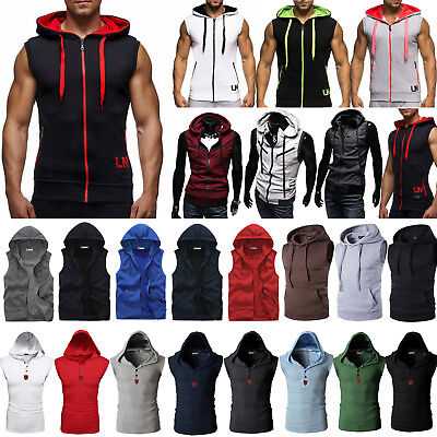 Mens Sleeveless Hoodie Sweatshirt Gym Sports Casual Hooded Vest Pullover Outwear