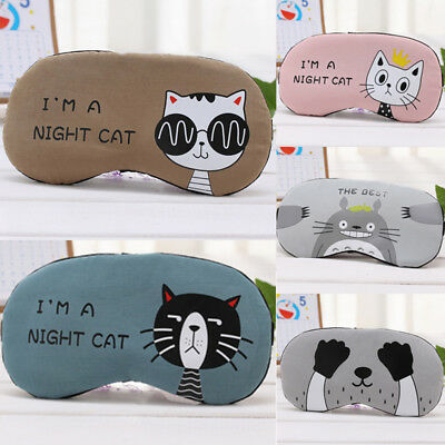 1PC Cute Cartoon Cat Sleep Mask Eye Mask Blindfold Eyeshade for Men and Women