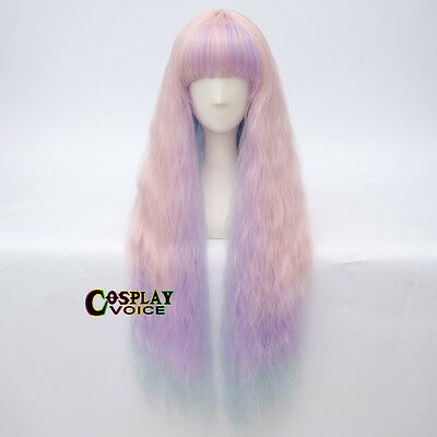 Blue Pink Mixed Purple Synthetic 80cm Curly Party Lolita Long Women Cosplay Wig