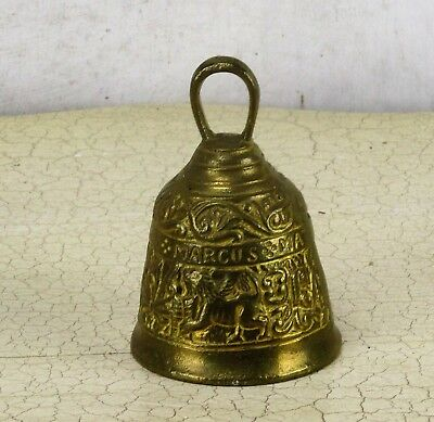 Small Brass Ornate Table Bell Brass Clapper Decorative 4 Evangelists Animals