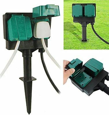 New 2 Way Outdoor Garden Sockets With 3M Cable Weather Proof Plug Splash Proof