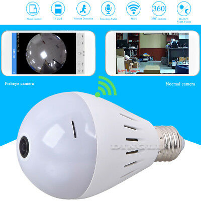 Fisheye 360° Panoramic Wireless Security HD IP Hidden Spy Camera LED Light Bulb