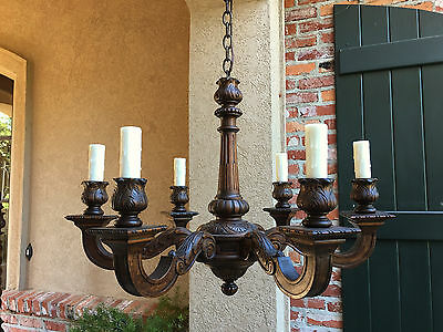 Large Antique FRENCH Carved Dark Wood Chandelier 6 Light Fixture Vintage Country