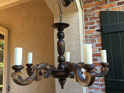 Antique FRENCH Carved Wood Chandelier Light Fixture Vintage Country 5 arm