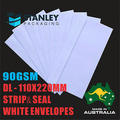 1000x DL White Business Envelope Strip N Seal Plain Face Wallet 110x220mm 80GSM