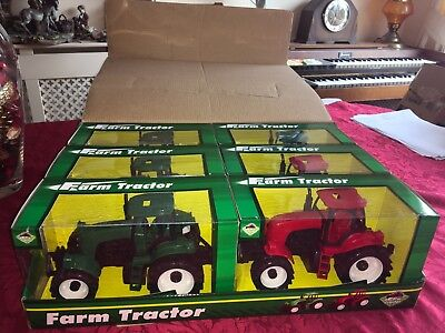 "JOBLOT BUNDLE 6 x PLASTIC FRICTION 8""  FARM TRACTORS TOY VEHICLES RED AND GREEN"