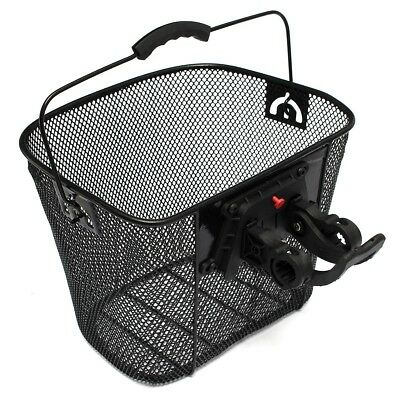 Bike Bicycle Metal Mesh Basket & Quick Release Bracket Shopping Carry Handle
