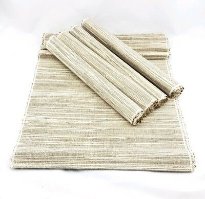 4 X Large Natural Silver Bamboo Placemat 36x46cm & 35.5x150cm Runner Set
