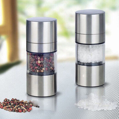 UK Simple Manual Stainless Steel Salt Pepper Mill Grinder Muller Kitchen Tools
