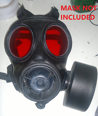 Gas mask lenses S10, polycarbonate, Airsoft safe, clear/red (MASK NOT INCLUDED)