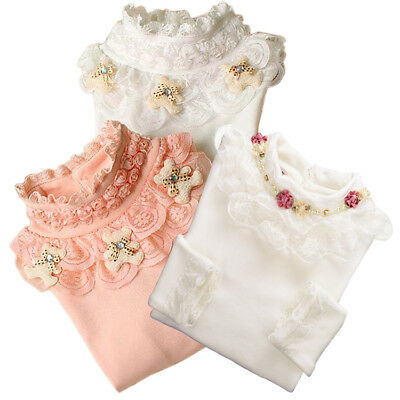 Sweater Kids Girls Pullover Winter Girls Lace Shirt Children Blouse Casual Tops