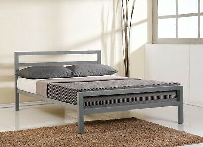 NEW FRAME - CHEAP - Time Living City Block Grey Metal Bed Frame Grey - All Sizes