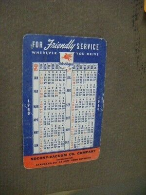 Vintage Mobil Gas Oil Pocket Calendar