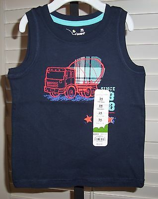 New JUMPING BEANS Boy's Shirt Size 18 24 months CEMENT TRUCK Sleeveless Tank Top