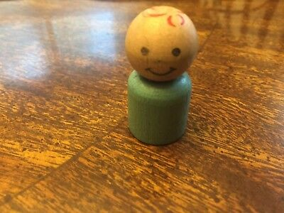 Vintage Fisher Price Little People Straight Body All Wood Light Blue Boy