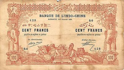French Somaliland / Djibouti  100 Francs  2.1.1920 P 5 Q.6 circulated Banknote