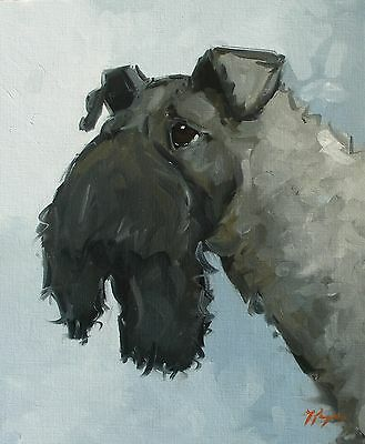 Original Oil painting - animal portrait of a kerry blue terrier dog - by j payne