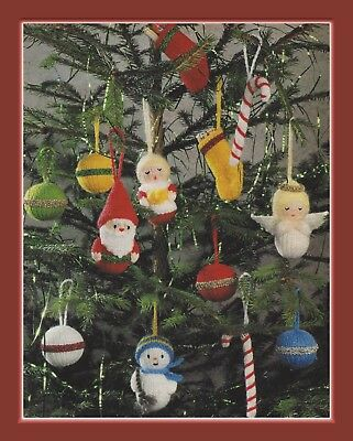 Christmas Tree Decorations Knitting Pattern Angel, Baubles, Santa, Snowman 994