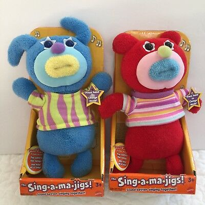 NEW Sing-A-Ma-Jigs Fisher Price Lot Red Blue In Box Discontinued Plush Music Toy