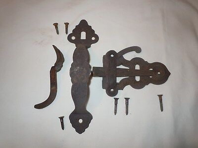 Vtg EASTLAKE Victorian CAST IRON Thumb Latch Door Knob Set RARE PRIVACY LOCK #2