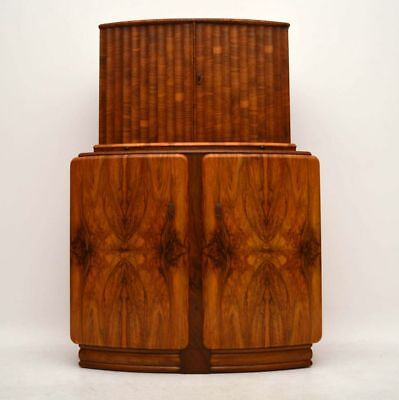 ART DECO FIGURED WALNUT COCKTAIL CABINET VINTAGE 1930's
