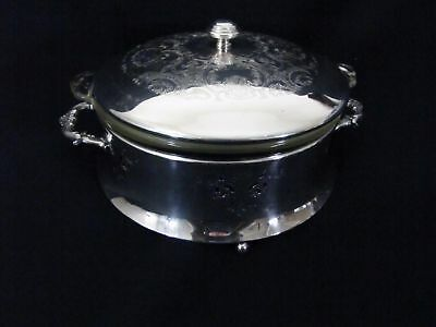 Vintage Silverplate Serving Dish, Cover & Glass Insert by Coronet Plate #  805