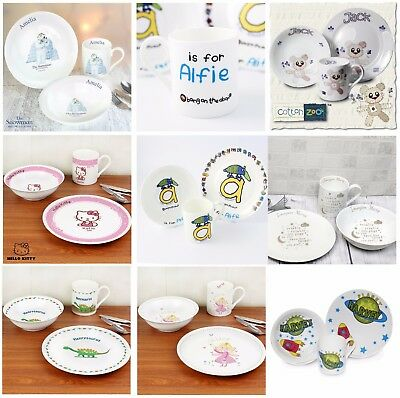 Personalised 3 Piece Breakfast Sets Bowl Plate Mug Kids Childrens Gifts Ideas