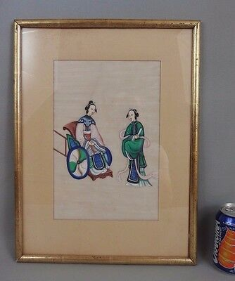 Large antique chinese watercolor painting on rice paper 19th C. empress lady