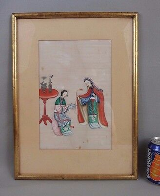 Large antique chinese watercolor painting on rice paper 19th C. empress lady n2