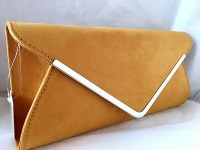 New Mustard Yellow Faux Suede Evening Day Clutch Bag Wedding Club Prom Party