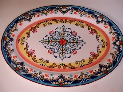 "Majolica -Italian -Cathedral Designs =Serving Platter Lucerne Foods-16""x 11.5"""