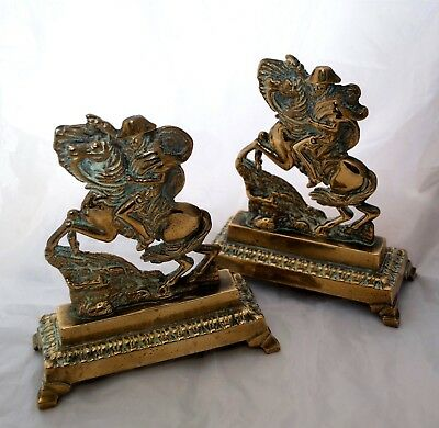 Antique 'Napoleon Crossing the Alps' Figural Brass Andirons Fire Dogs Rare