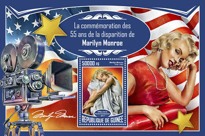 Guinea 2017 MNH Marilyn Monroe 55th Mem 1v S/S Celebrities Movie Stars Stamps