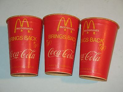 3~ 1970s MCDONALDS FIVE CENT COCA COLA CUPS ~UNUSED~