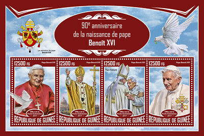 Guinea 2017 MNH Pope Benedict XVI 90th Birthday Pope Francis 4v M/S Popes Stamps