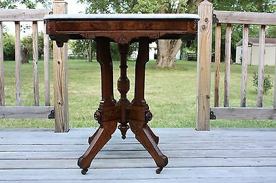 Victorian Walnut & Burl Carved Marble Top Lamp Table