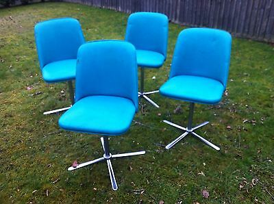 4 x Vintage Retro Turquoise 1950/60s Swivel Kitchen Chairs
