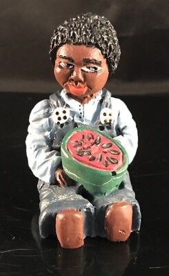 VINTAGE HAND PAINTED BLACK AMERICANA  YOUNG BLACK MAN WITH WATER MELON- 80's