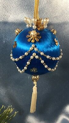 Vintage Handcrafted Beaded Wrapped Christmas Ornament: Gold + White + Blue #3299