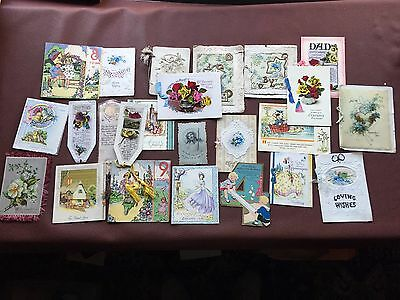 Collection of 23 Beautiful Vintage 1920's/1930's Greetings Cards/Bookmarks
