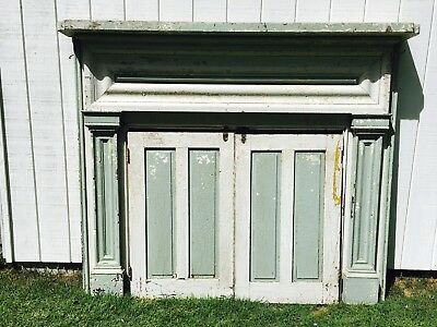 Vintage Antique Wooden Fireplace Mantel and Doors