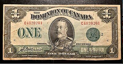 1923 Canada one Dollar Paper Money P33j