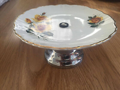 James Kent Old Foley Yellow Roses Plate with stand