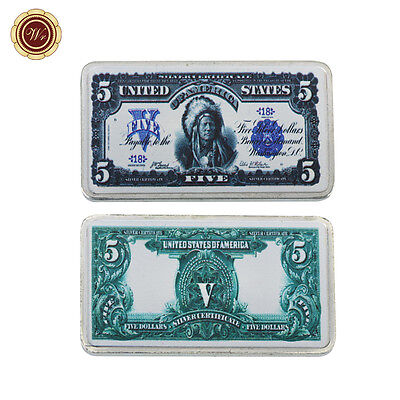 WR 1899 $5 Chief Silver Certificate Note Art Print Silver Bar Vintage Gifts Dad